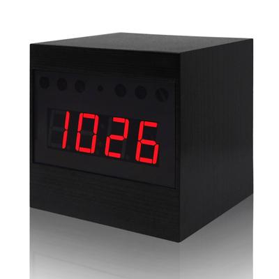 ~CHICHIAU~Full HD 1080P 黑色木紋電子鐘 微型針孔攝影機