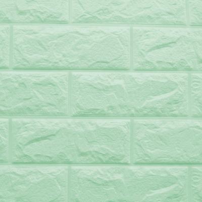 3D立體泡棉磚紋壁貼一片(粉嫩綠)