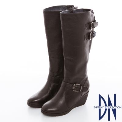 DN 時尚美型 牛皮釦環拉鍊設計楔型長靴 深咖