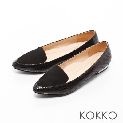 KOKKO-英倫紳士尖頭異材拼接金屬平底鞋-經典黑