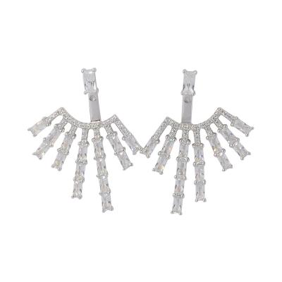 apm MONACO法國精品珠寶 純銀垂墜長方形晶鑽鋯石耳環