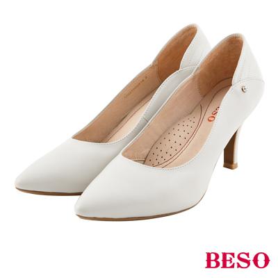 BESO 完美曲線 全真皮閃耀單顆美鑽跟鞋~灰