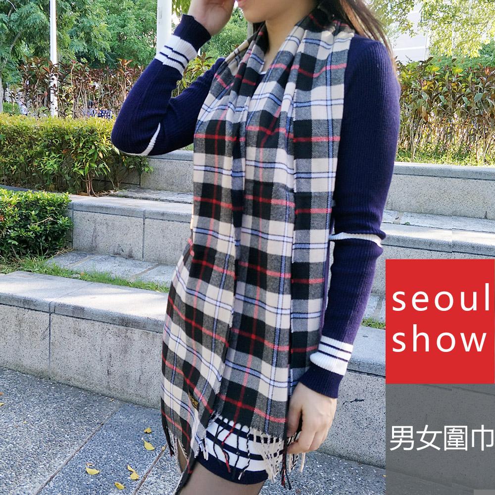 Seoul Show 經典條格紋仿羊絨圍巾11款 卡其 紅線黑線格