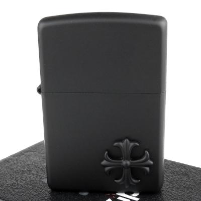 ZIPPO 日系~Crazy Black-十字貼飾霧面塗裝加工打火機