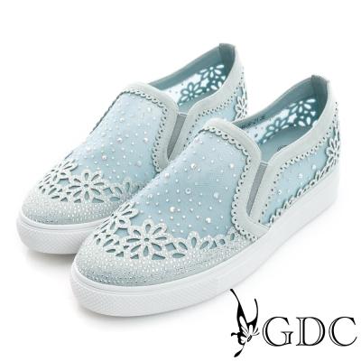 GDC-舒適花型水鑽絨布真皮懶人休閒鞋-藍色