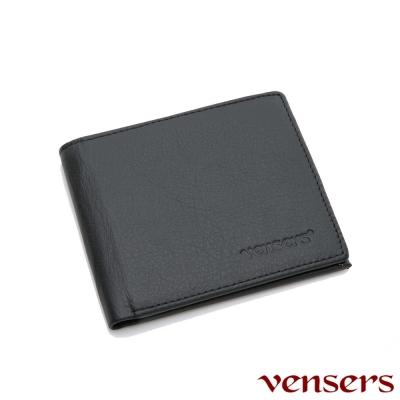 vensers 小牛皮潮流個性皮夾(NB5302813黑色短夾)