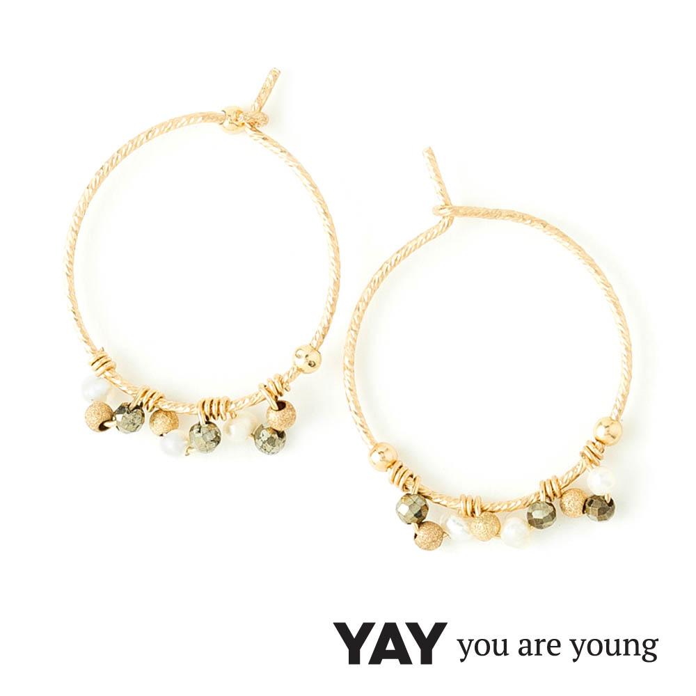 YAY You Are Young Frida 寶石花束耳環 經典圓耳環 白珍珠X星辰豆豆