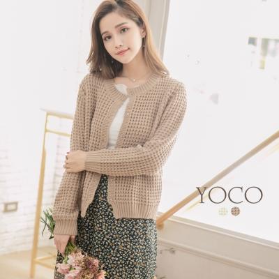 東京著衣-yoco 經典氣質假口袋粗針暗釦針織外套-S.M.L(共二色)