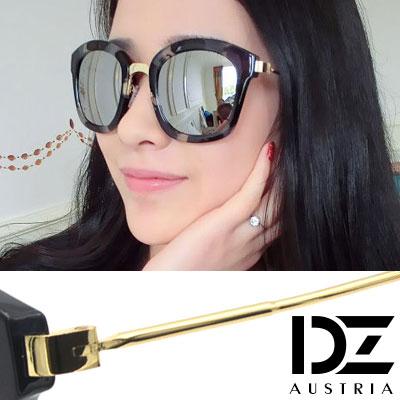 【2件59折】DZ 斑透潮感 抗UV太陽眼鏡造型墨鏡(黑斑水銀膜)
