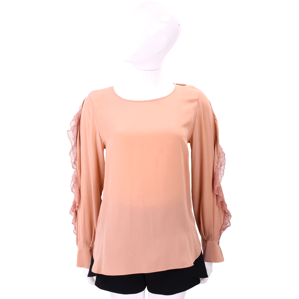 SEE BY CHLOE 粉橘色拼接蕾絲荷葉長袖上衣 @ Y!購物