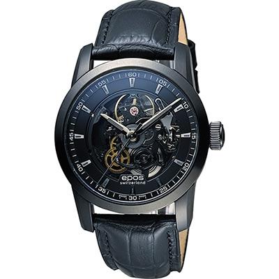 EPOS Sophistiquee 阿波羅鏤空機械腕錶-黑/41mm