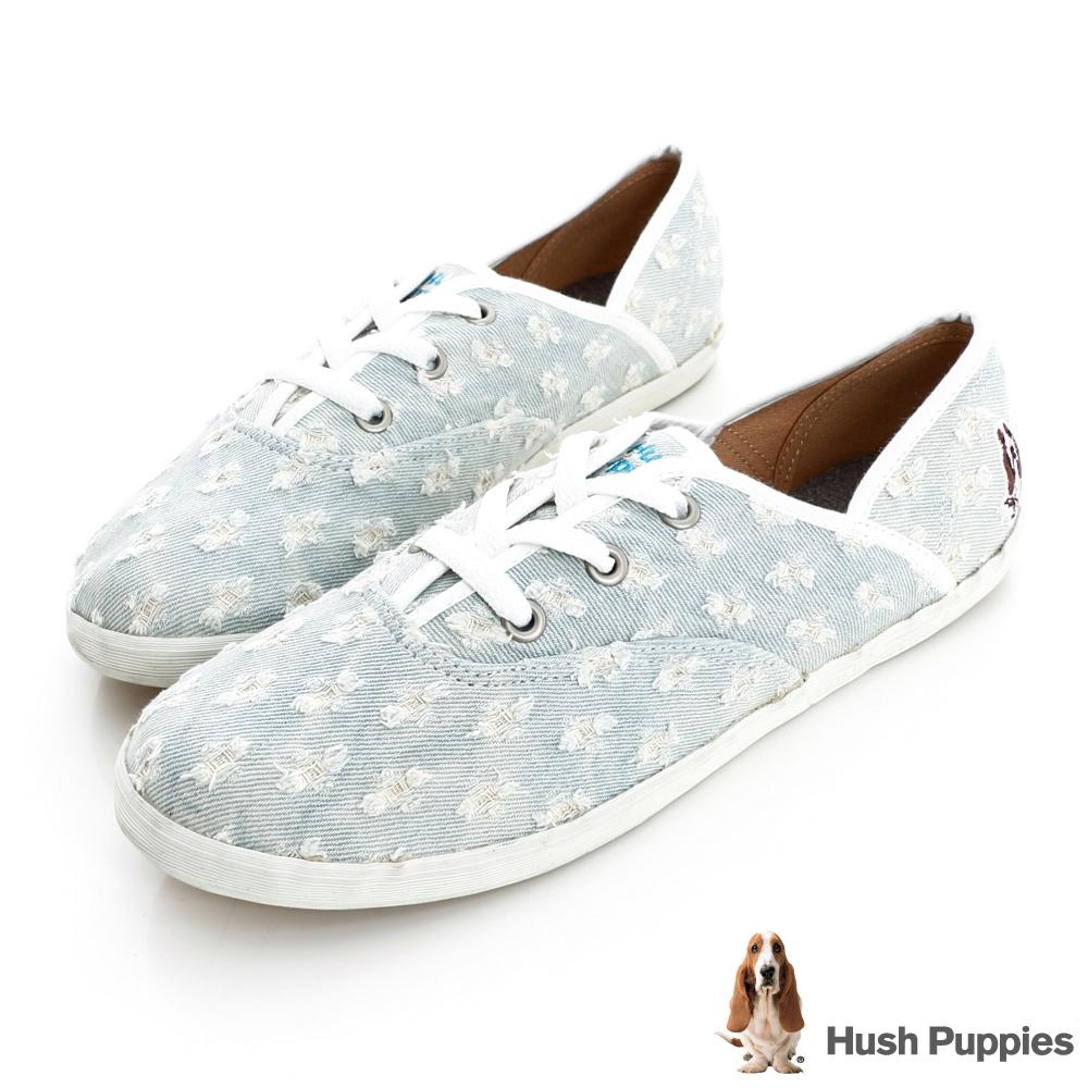Hush Puppies 個性丹寧勾紗咖啡紗帆布鞋-淺藍