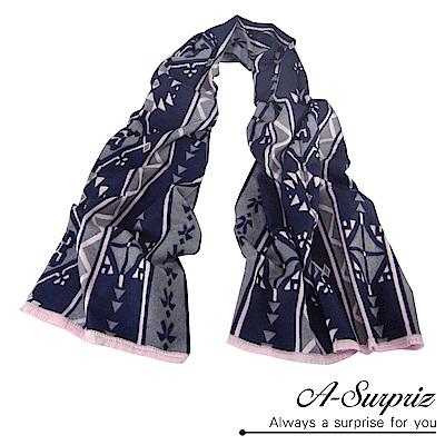 A-Surpriz 幾何圖樣加大兩面仿羊絨披肩(灰藍)