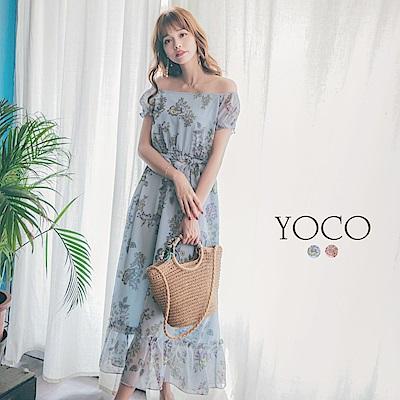 東京著衣yoco復古甜漾一字領兩穿輕雪紡碎花綁帶長洋裝-(共二色)