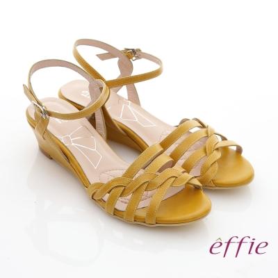 effie 軟芯系列 全真皮編織條帶民族風楔型涼鞋 黃