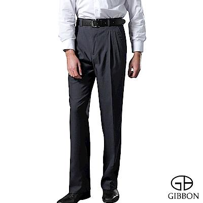 GIBBON 輕盈涼爽羊毛打摺西裝褲‧暗藍28~32