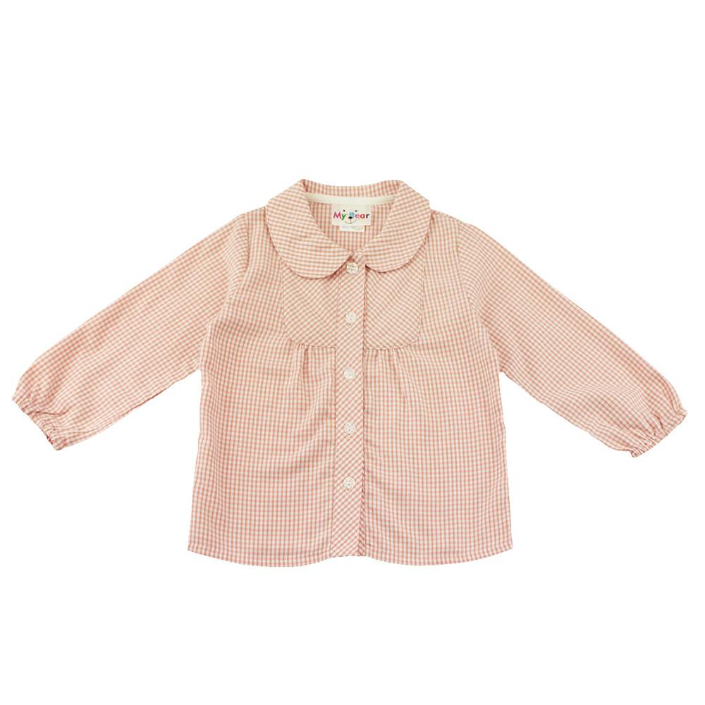 愛的世界 MYBEAR 純棉娃娃領細格紋襯衫/6-8歲-台灣製-