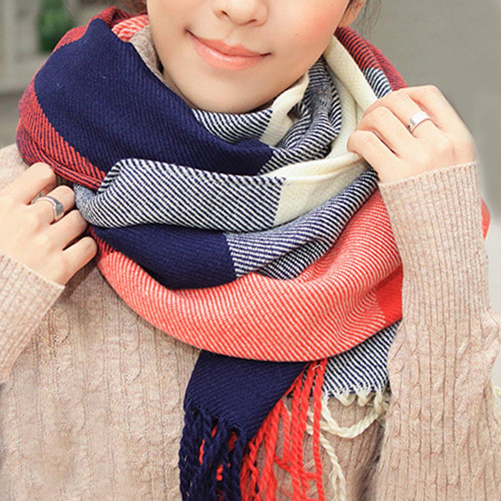 幸福揚邑 羊絨質感格紋保暖圍巾/披肩-棗紅藍格