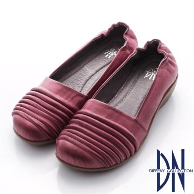 DN 簡約生活 復古擦色抓皺素面平底鞋-紫紅