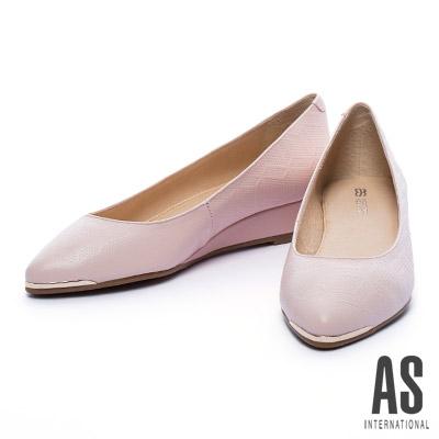 楔型鞋 AS 金屬風菱格壓紋牛皮楔型鞋-粉