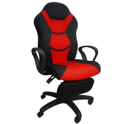 LOGIS  拉法坐臥2用置腳抬賽車椅 電腦椅 躺椅(三色)