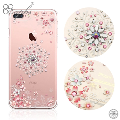 apbs iPhone8/7 Plus 5.5吋施華洛世奇彩鑽手機殼-櫻飛雪