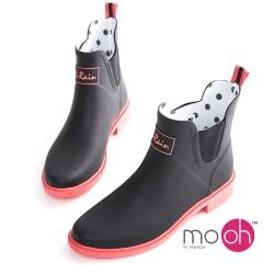 mo.oh愛雨天-撞色切爾西橡膠短筒雨靴-黑粉