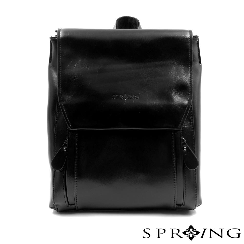 SPRING - 簡約牛皮方形後背包-黑