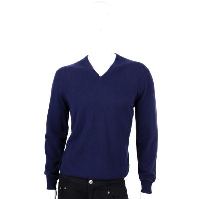 ALLUDE 藍色V領喀什米爾針織上衣(100%CASHMERE)