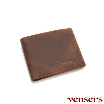 vensers 小牛皮潮流個性皮夾~(NB600401瘋馬皮短夾)