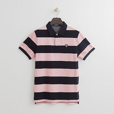 Hang Ten - 男裝 - 美式條紋拼接POLO衫-深藍色
