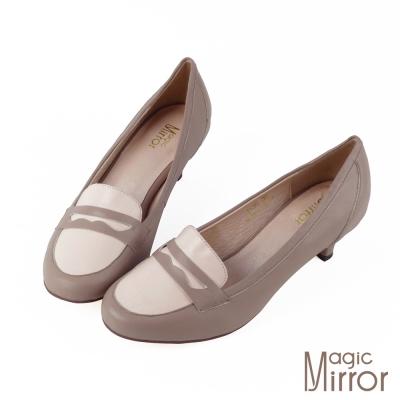 Magic-mirror-嚴選真皮-雙色拼接復古粗跟鞋-韓系豆沙