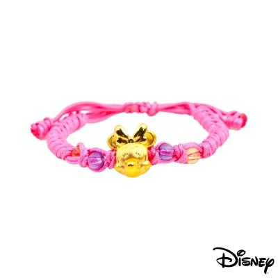 Disney迪士尼金飾 夢想美妮黃金中國繩手鍊-活力桃