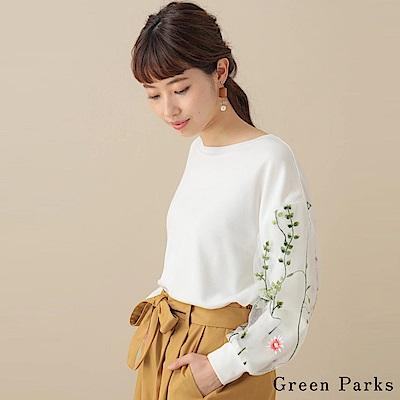 Green Parks 花朵薄紗袖拼接圓領上衣