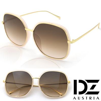 DZ 魅力層線框 抗UV太陽眼鏡造型墨鏡(淺粉框漸層茶片)