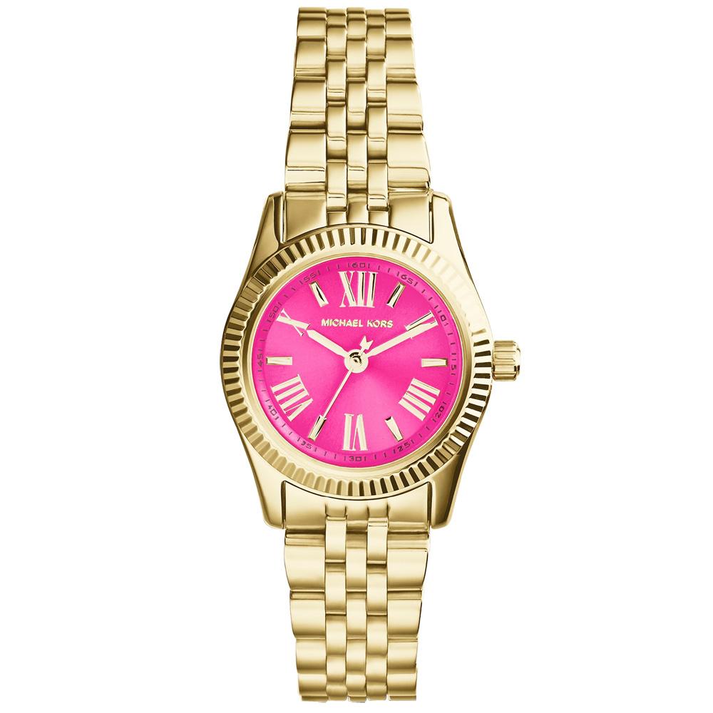 Michael Kors 幸福呢喃時尚腕錶-桃紅x金/26mm