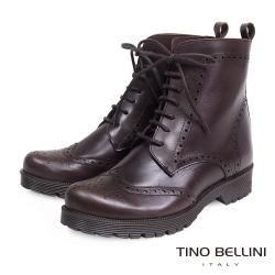 Tino Bellini 西班牙進口牛津綁帶短靴_深咖