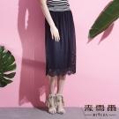 麥雪爾 素面蕾絲薄紗雙層長裙
