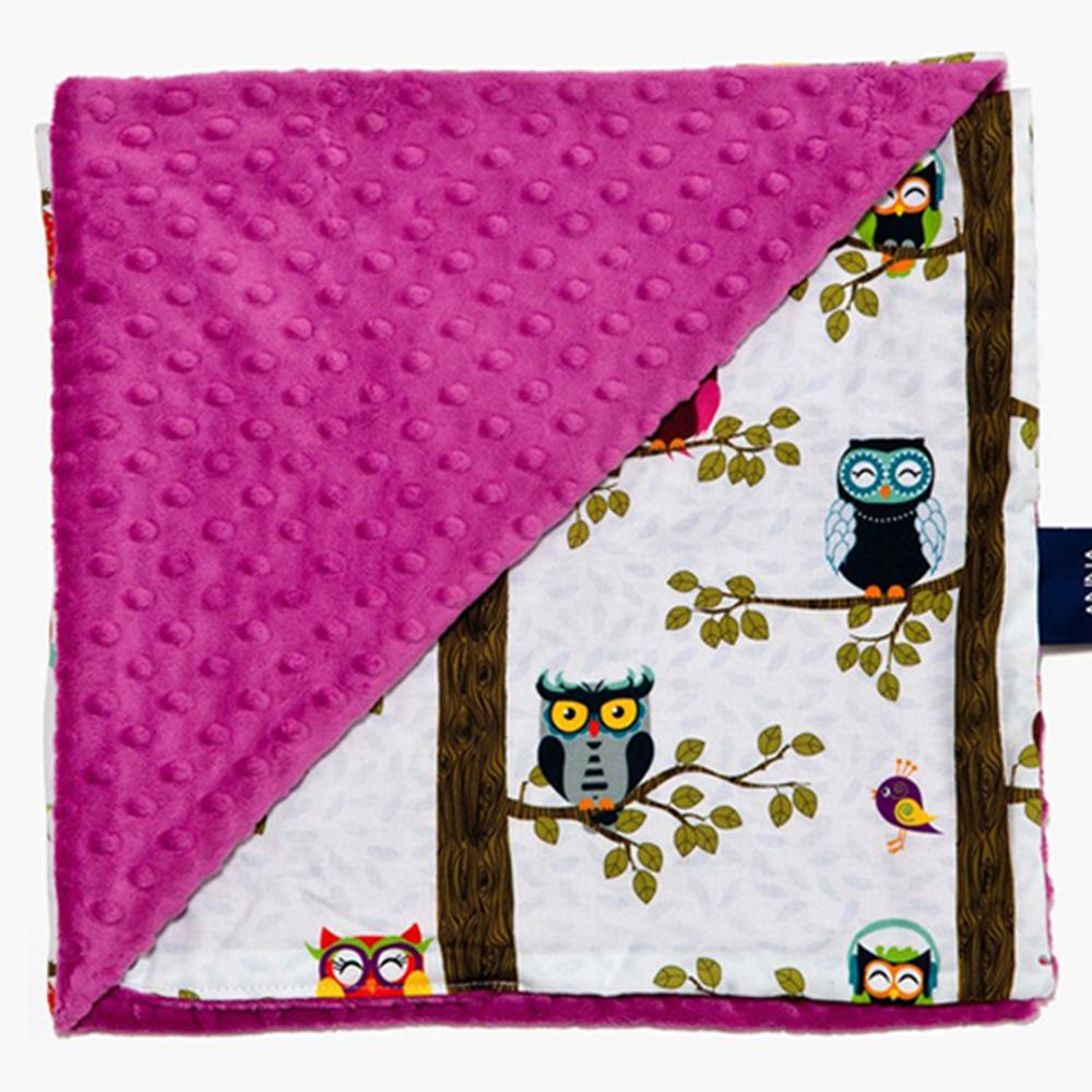 La Millou單面巧柔豆豆毯-AnnaMucha設計師限量款(樹屋貓頭鷹)-沁甜莓果紅