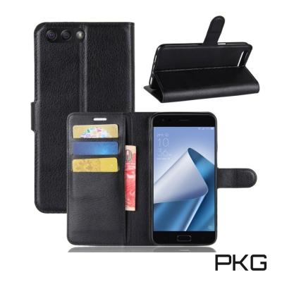 PKG ASUS Zenfone4  ZE554KL 側翻式皮套經典皮革-黑色