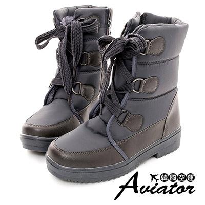 Aviator*韓國空運-尼龍防潑水內鋪毛綁帶馬汀雪靴(含冰爪)-灰