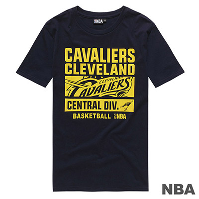 NBA-克里夫蘭騎士隊大圖字母印花短T-深藍 (男)