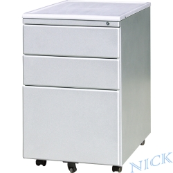 NICK 銀色粉體烤漆三抽平面鋼製活動櫃