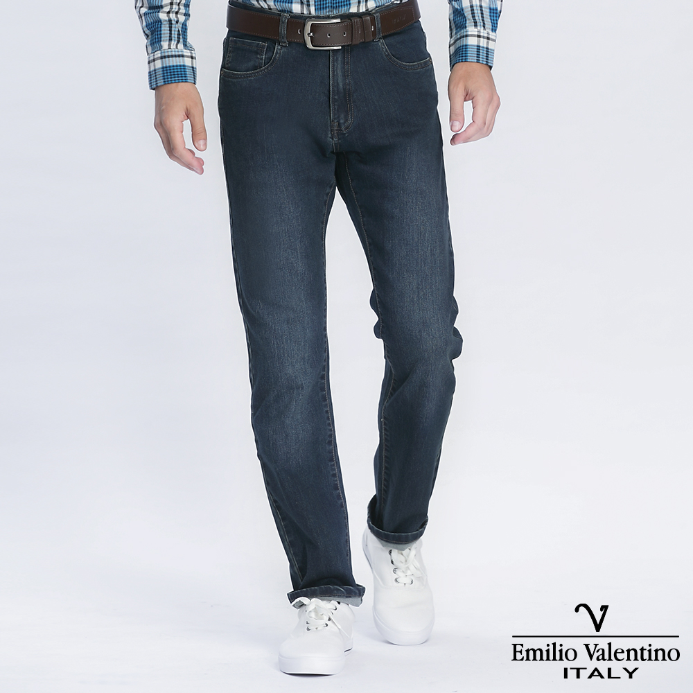 Emilio Valentino 范倫提諾彈性合身牛仔褲-深藍