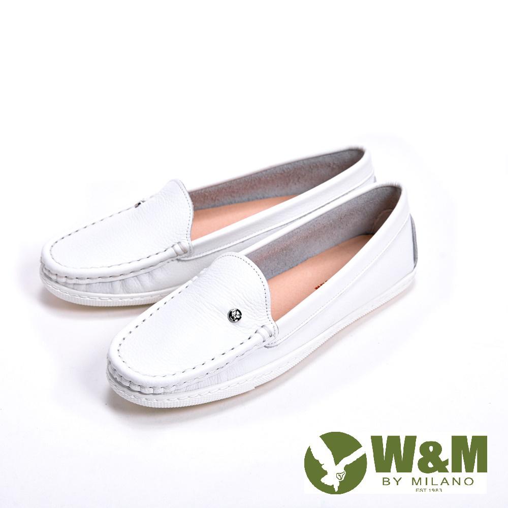 W&M 袖扣豆豆鞋莫卡辛鞋女鞋-白(另有深藍)