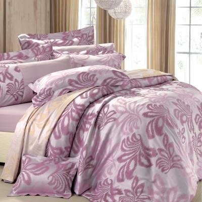 HOYACASA 佛蘿倫斯-深遂紫 雙人六件式色織緹花長絨天絲被套床包組