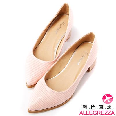 ALLEGREZZA-韓國直送粗跟壓紋尖頭低跟鞋