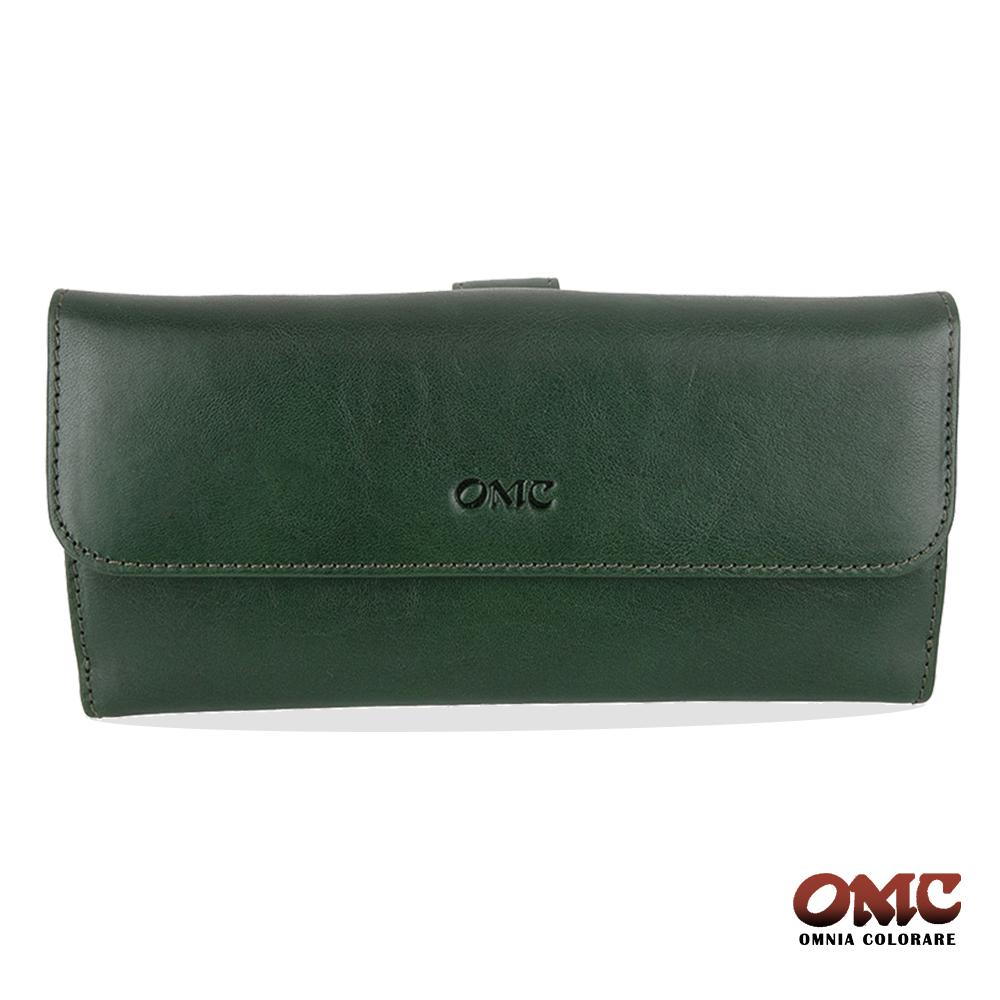 OMC 原皮系列-植鞣牛皮舌片壓扣17卡透明窗多隔層零錢長夾-綠色