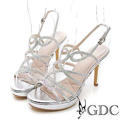GDC-交叉水鑽性感女神款細跟涼鞋-銀色