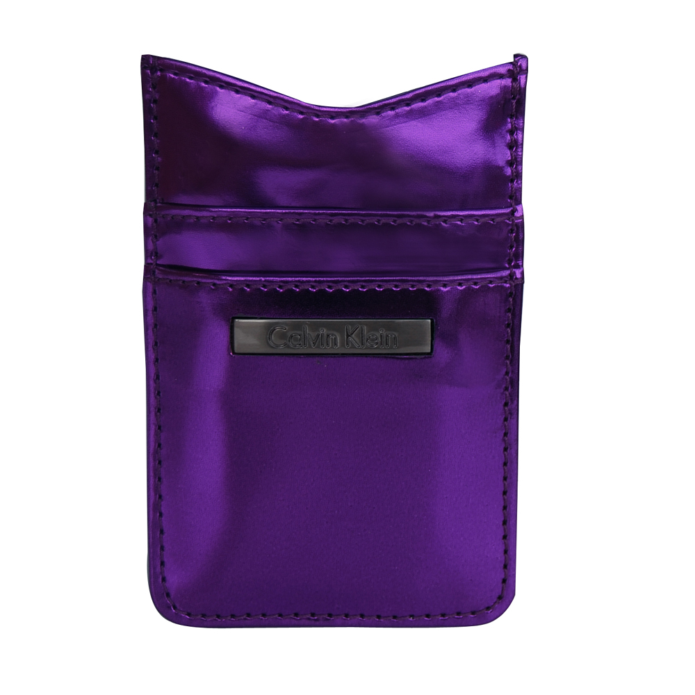 Calvin Klein 極簡風格紫色亮面卡夾手機/iphone套